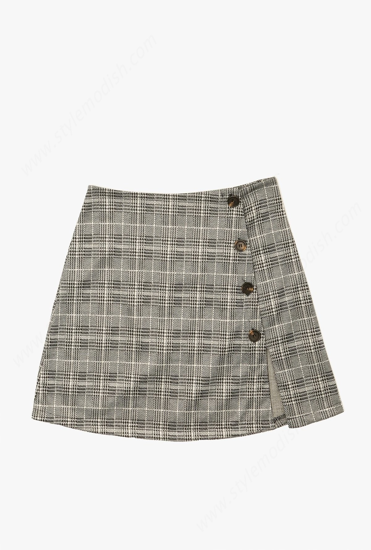 Lady's Azalea Plaid Skirt - Grey - -4