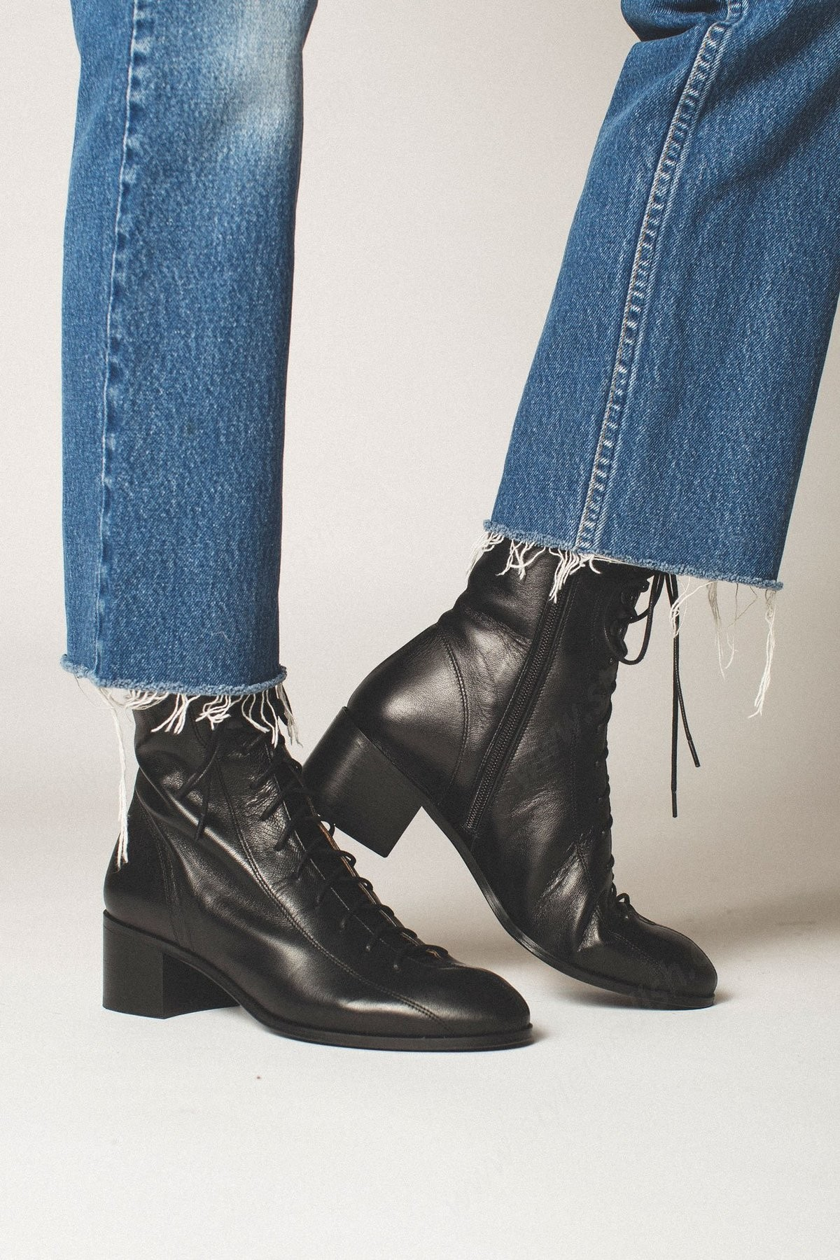 Lady's By Far Bota Leather Boot - Black - -1
