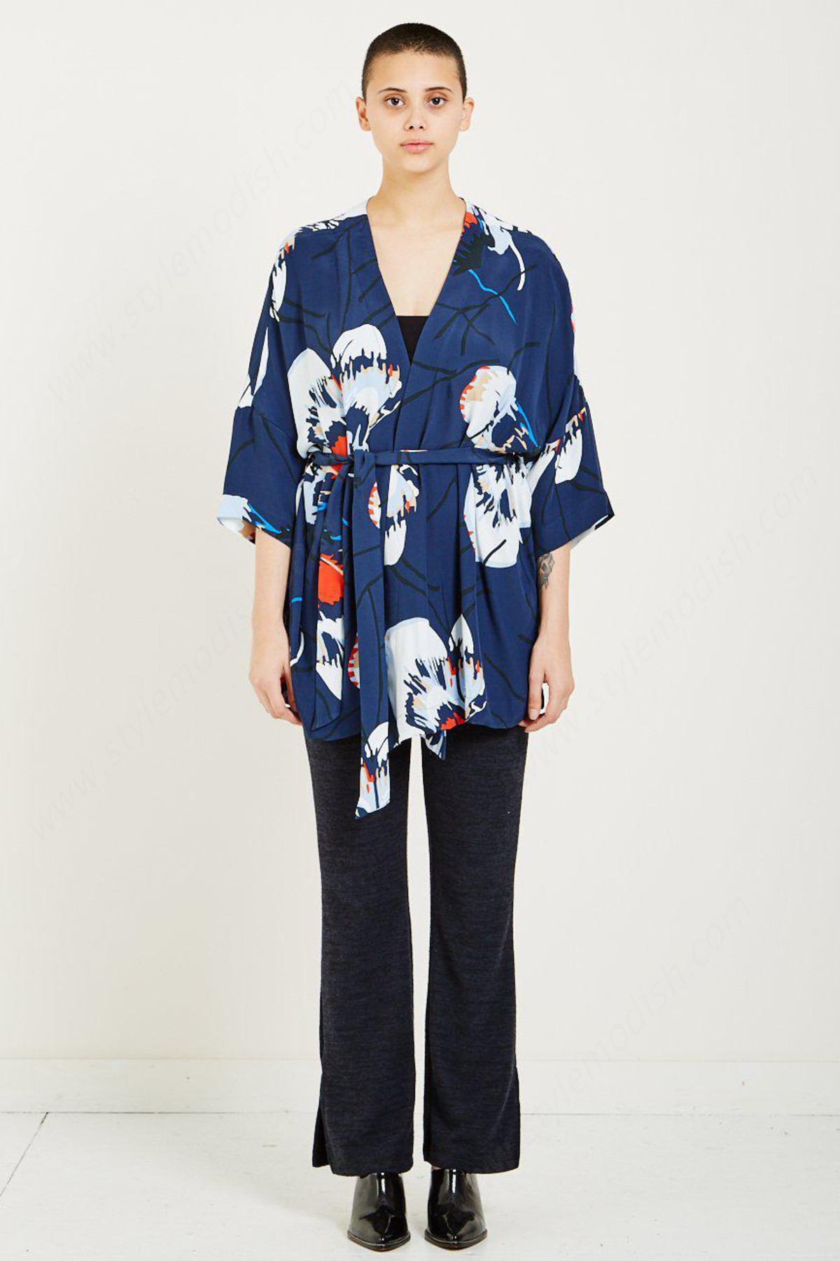 Lady's Just Female Wrap Blouse - Blue Floral - -0