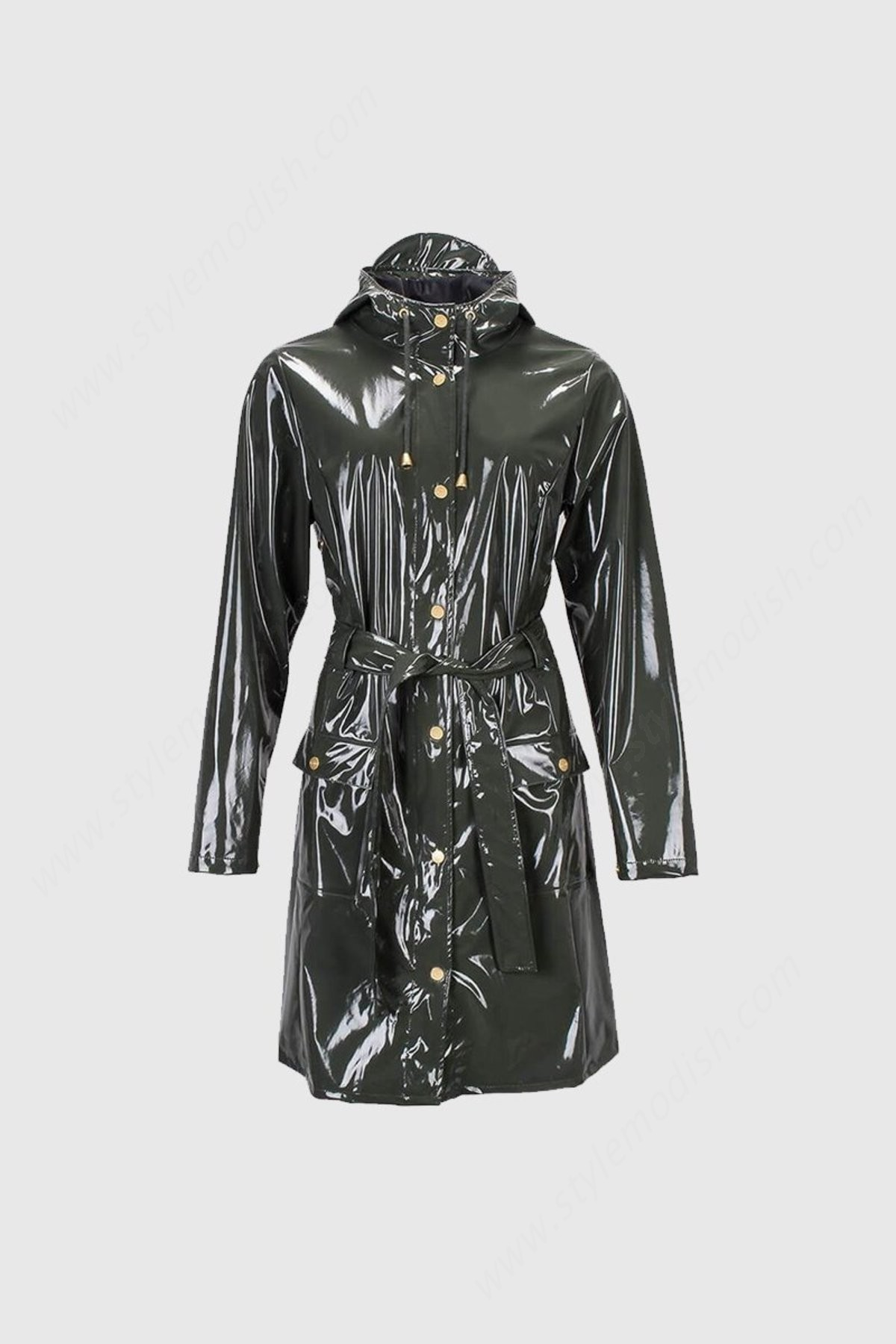 Lady's Rains Curve Coat - Glossy Green - -0