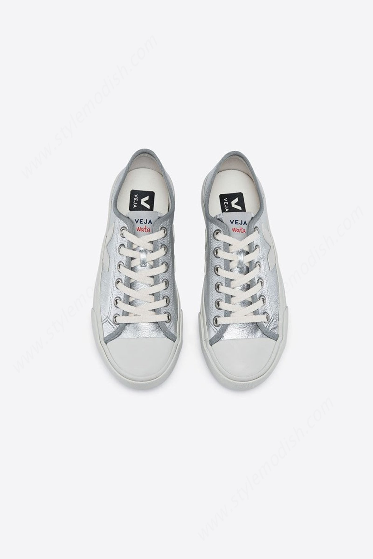 Lady's Unisex Veja Wata Leather Pierre Shoe - Silver  - -2