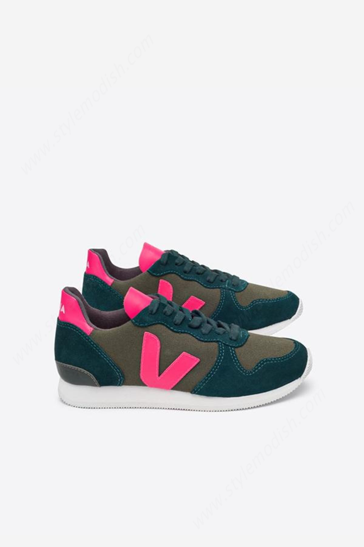 Lady's Veja Holiday - Olive Cambridge Rose Fluo Sneaker - -1
