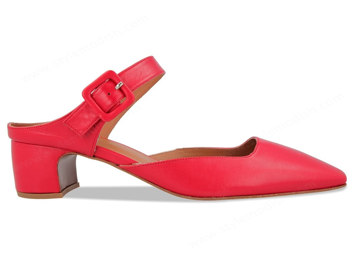 Woman's By Far Mira Mules - Bright Red Leather Trainers - -0