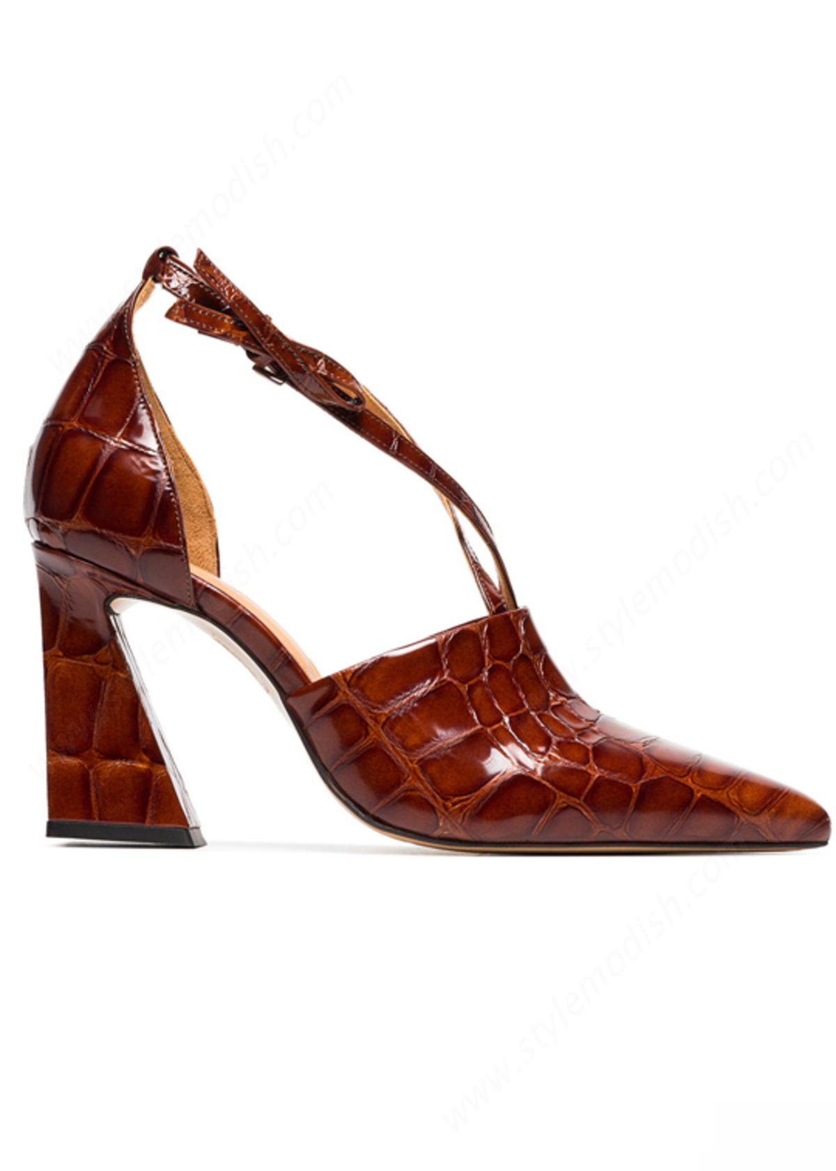 Woman's Ganni Lina Leather Pumps Shoes - -1