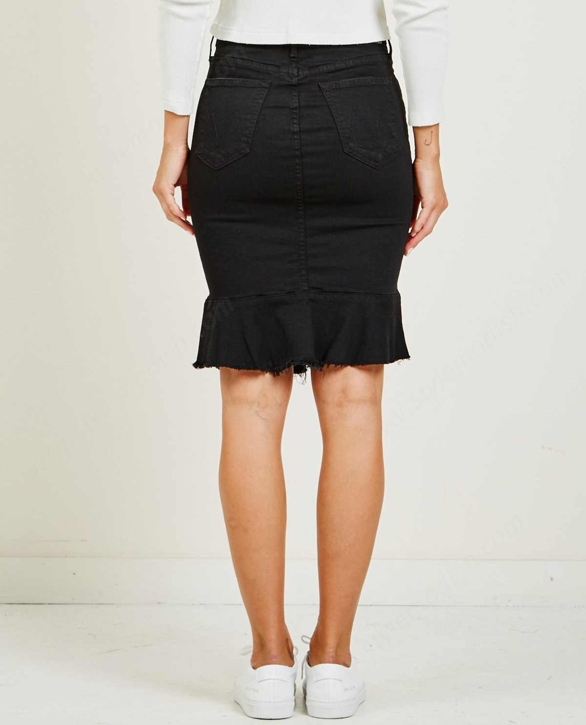 Woman's Mother Denim The Cha Cha Fray Skirt - Not Guilty - -1
