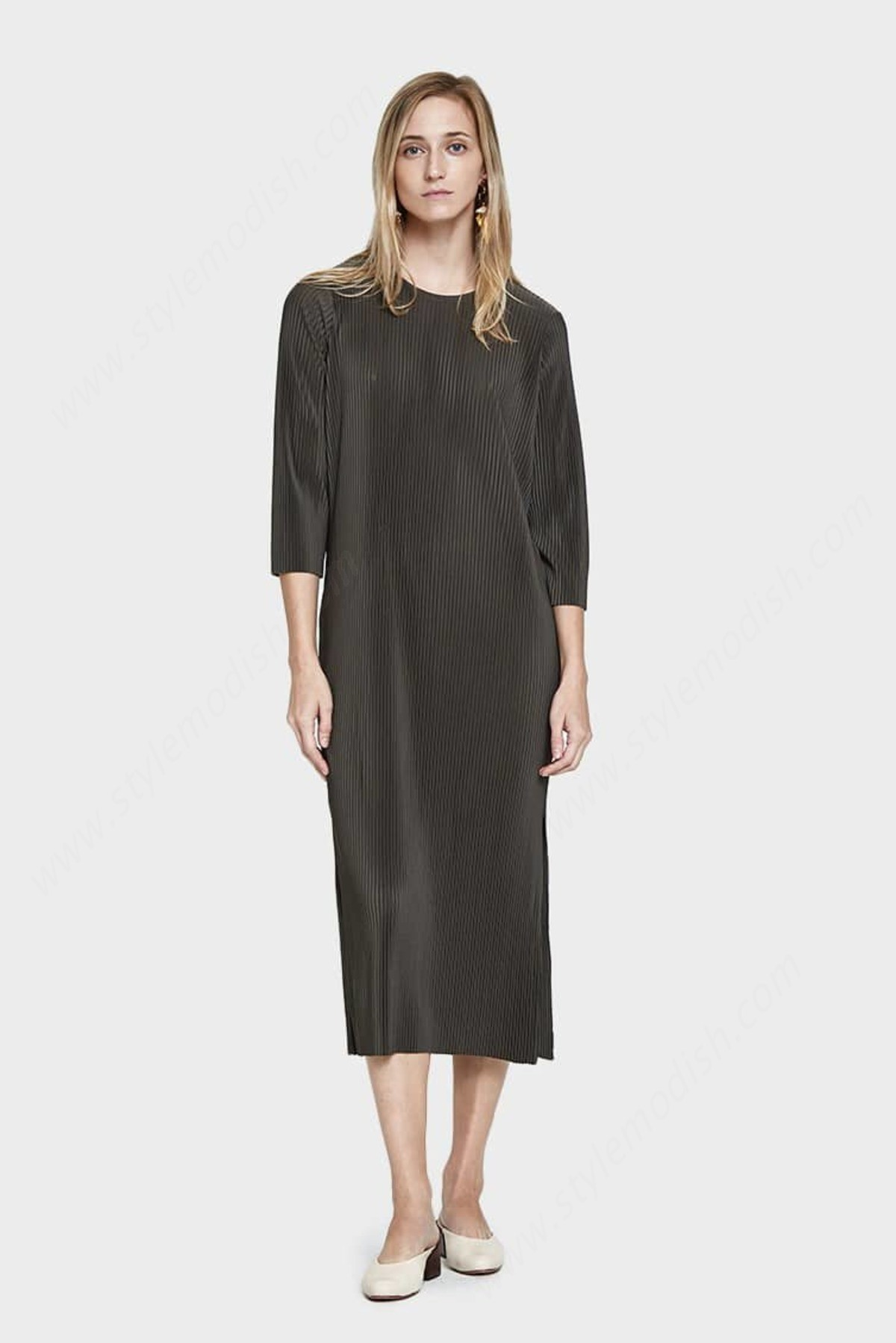 Womens's Just Female Pleated Dress - Forest Green - -3