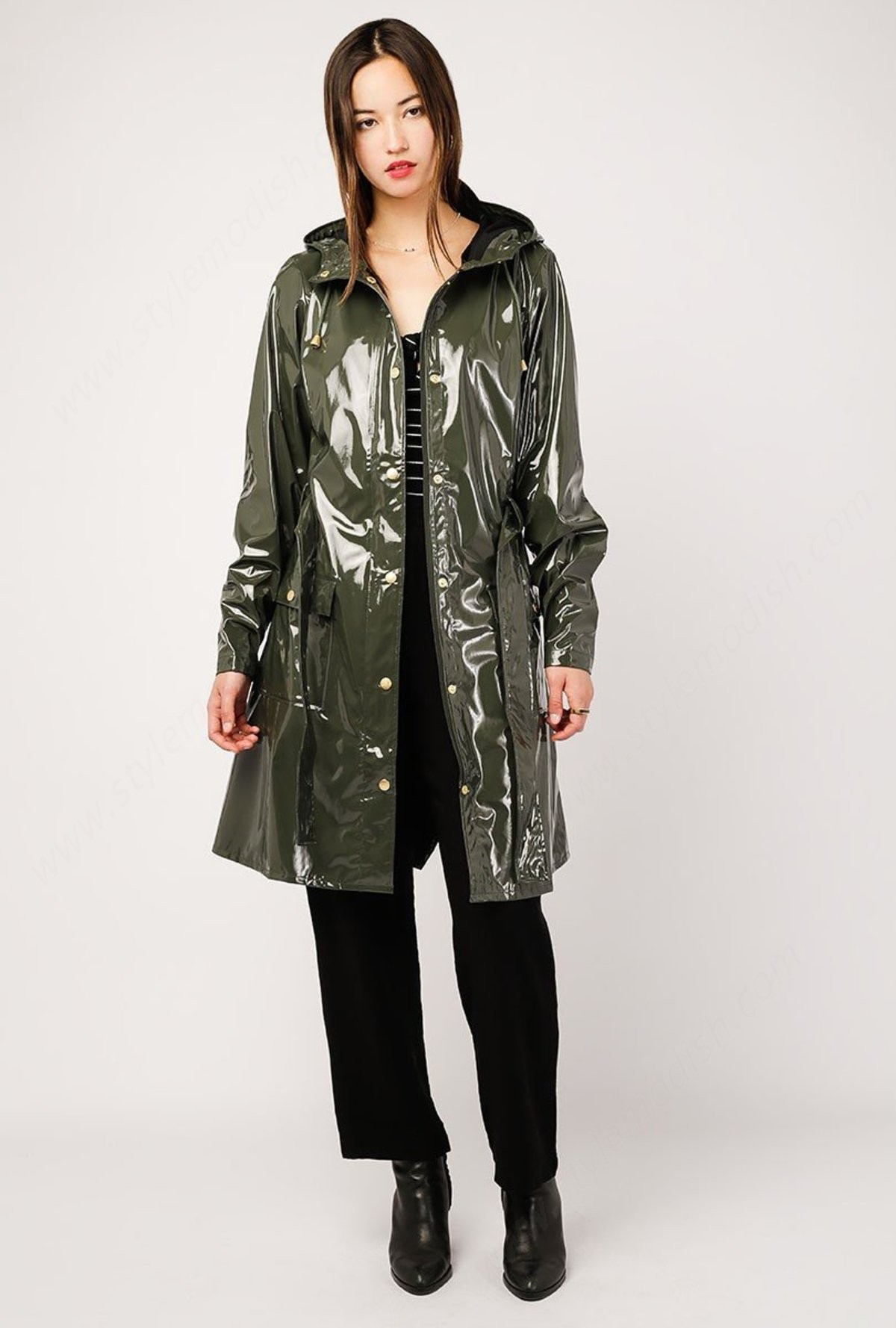 Womens's Rains Curve Jacket - Gloss Green - -1