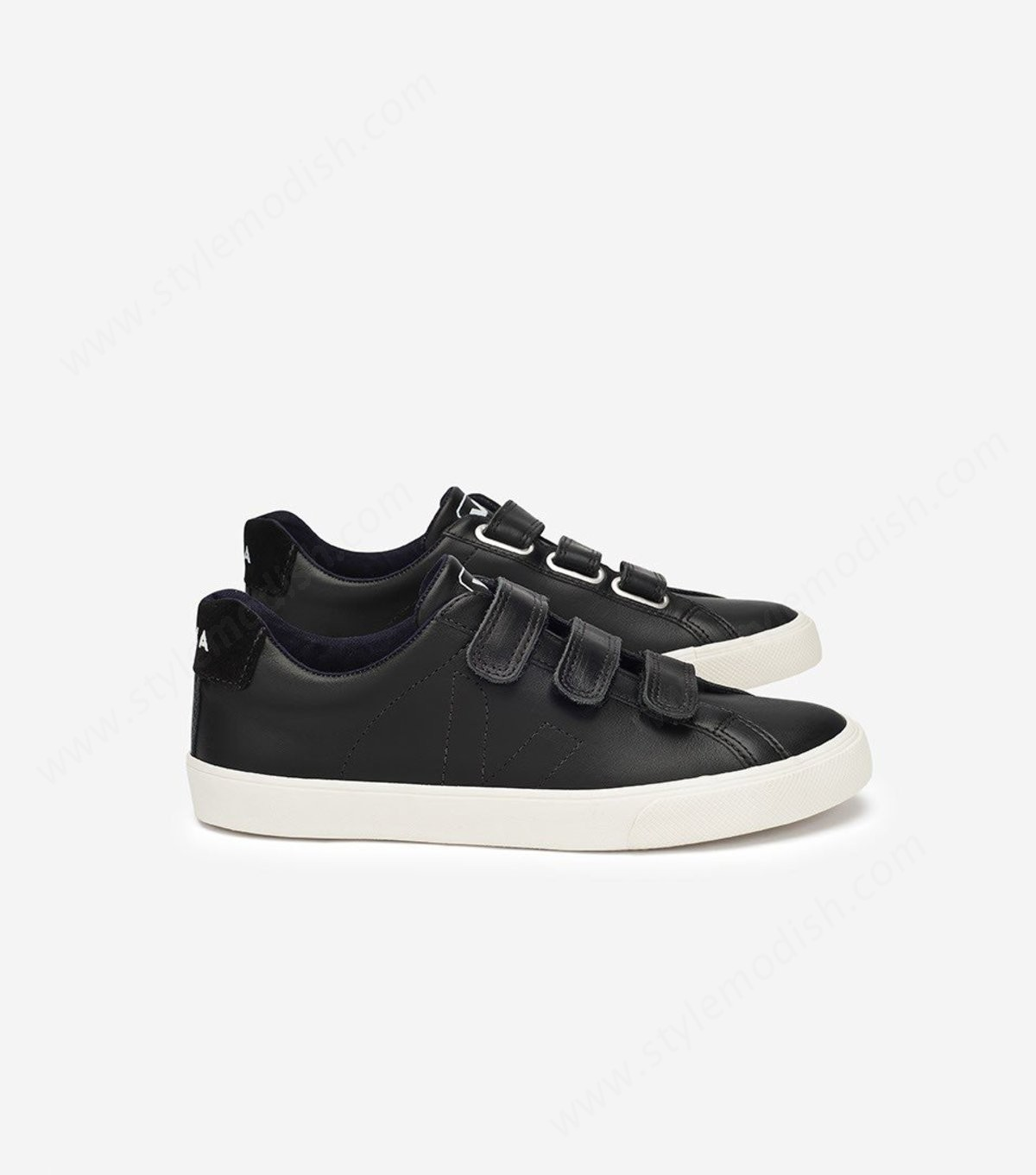 Womens's Veja Esplar Low Leather Locks Sneaker - Black - -0