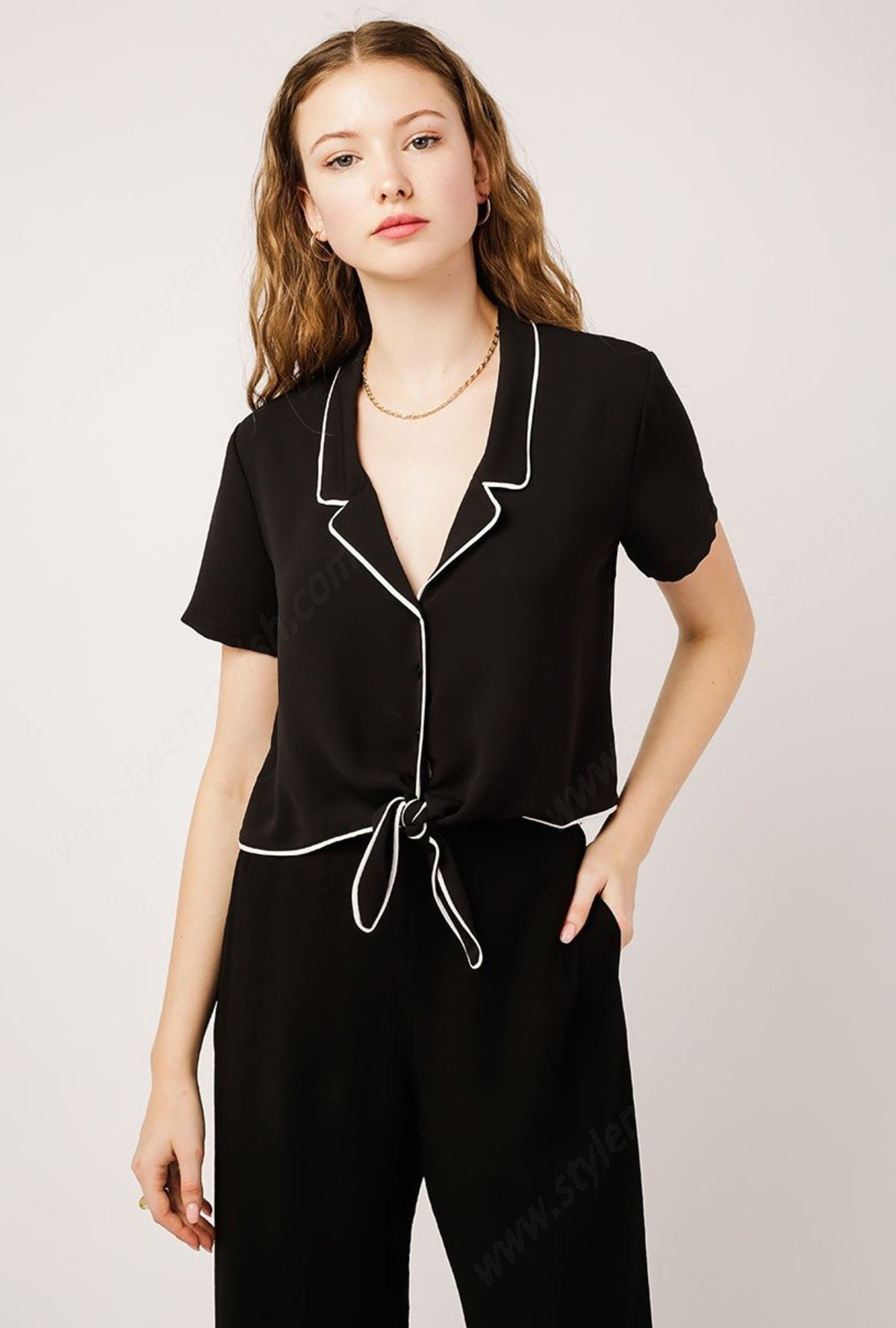 Woman's Azalea Chords Collared Tie Front Top - Black/off White - -0