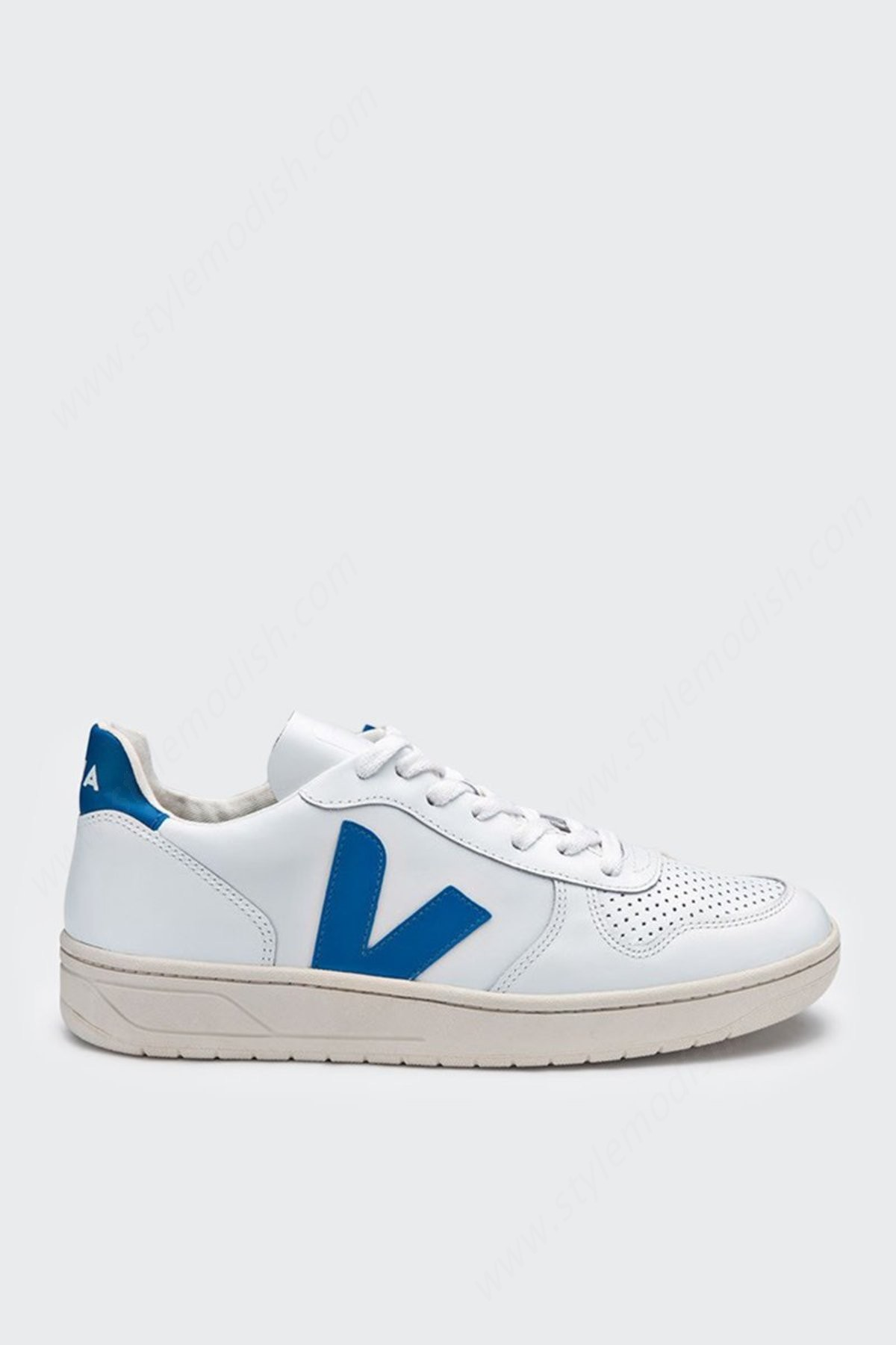 Womens's Unisex Veja V10 Leather Shoes - Extra White/swedish Blue - -0