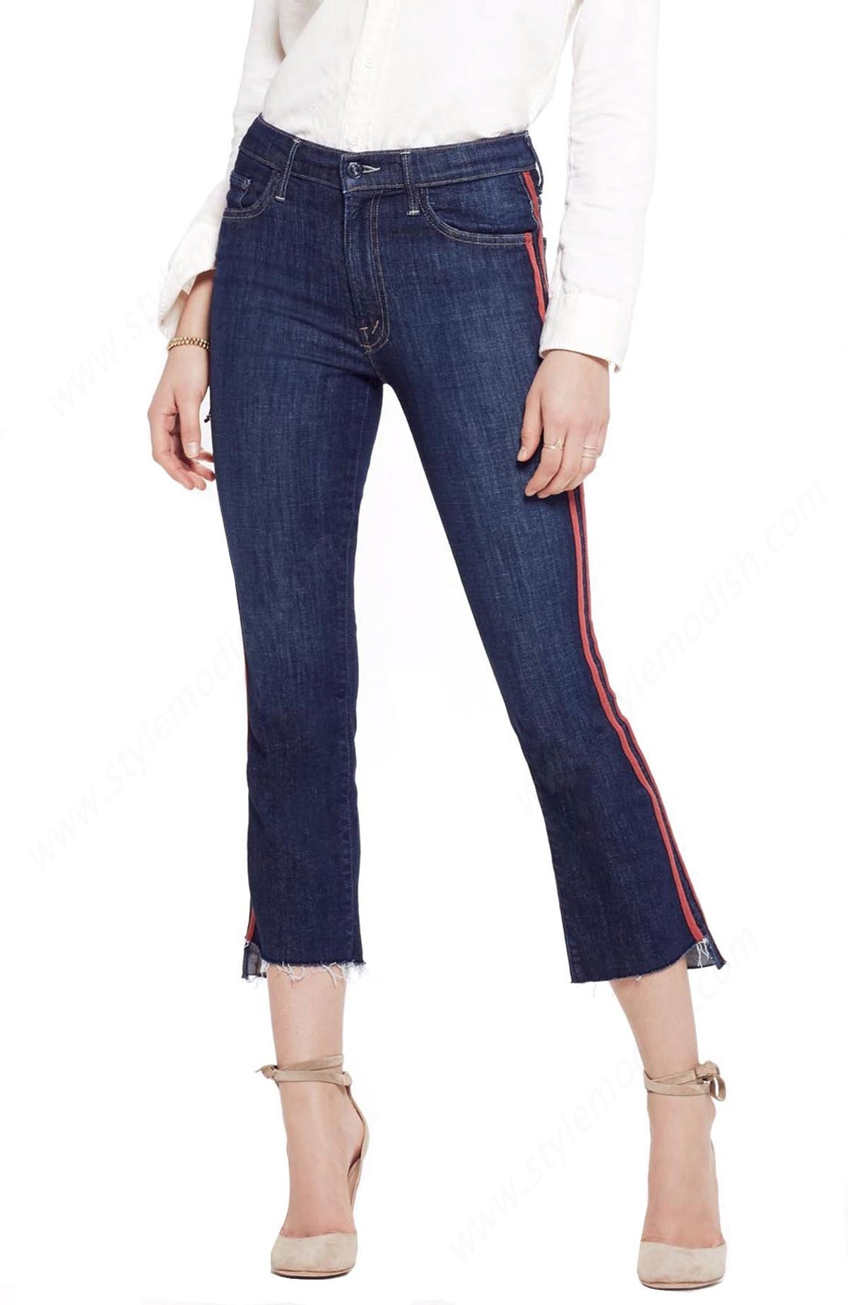 Lady's Mother Denim Insider Crop Step Fray - Speed Racer - Lady's Mother Denim Insider Crop Step Fray - Speed Racer