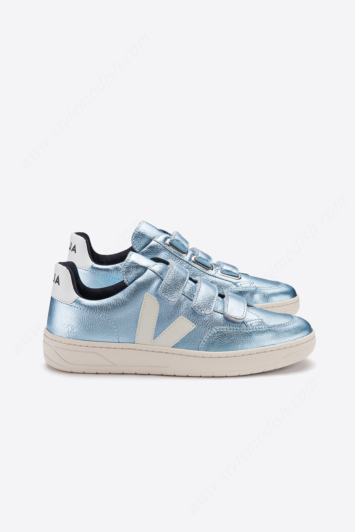 Lady's Veja V- Velcro Leather Iceberg Pierre Trainer - Metallic Blue - Lady's Veja V- Velcro Leather Iceberg Pierre Trainer - Metallic Blue