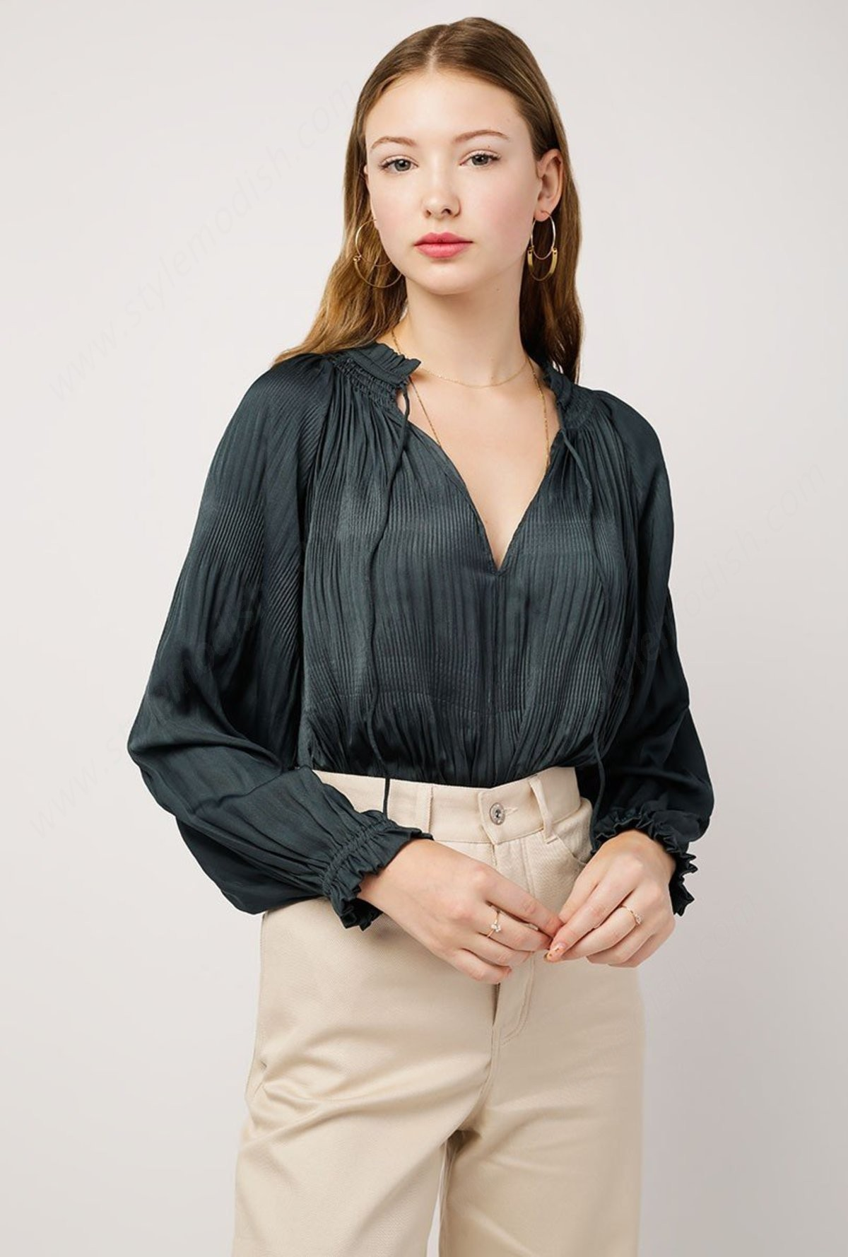 Woman's Azalea Tie Collar Top - Woman's Azalea Tie Collar Top