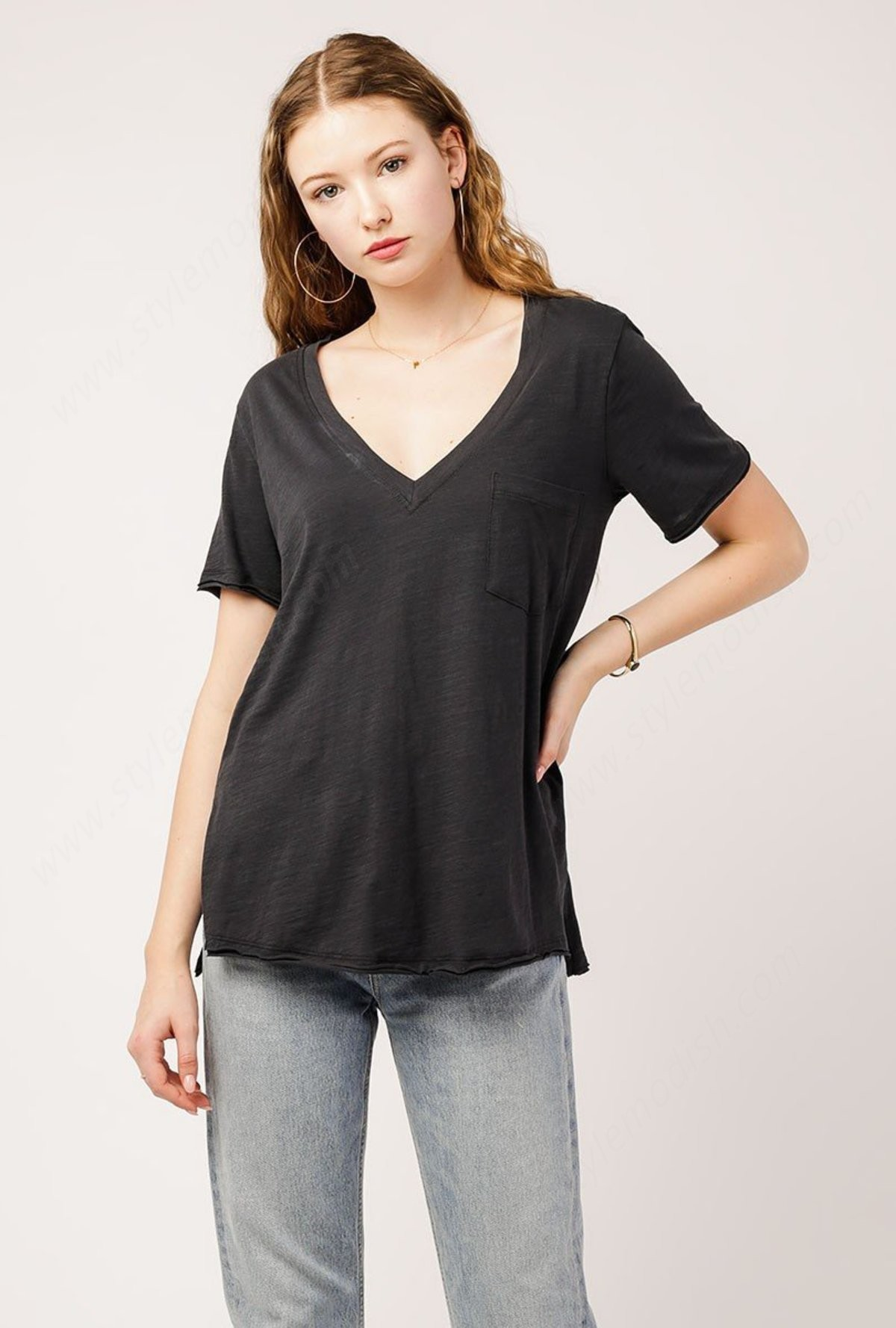 Woman's Azalea V Neck Knit T-Shirts - Charcoal - Woman's Azalea V Neck Knit T-Shirts - Charcoal