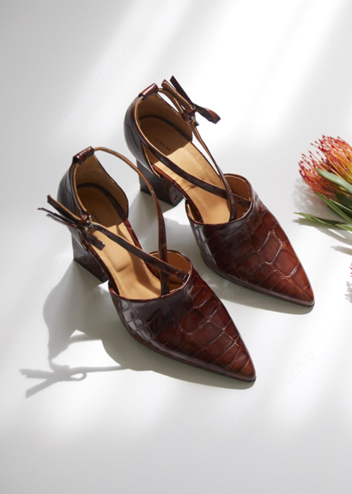 Woman's Ganni Lina Leather Pumps Shoes - Woman's Ganni Lina Leather Pumps Shoes