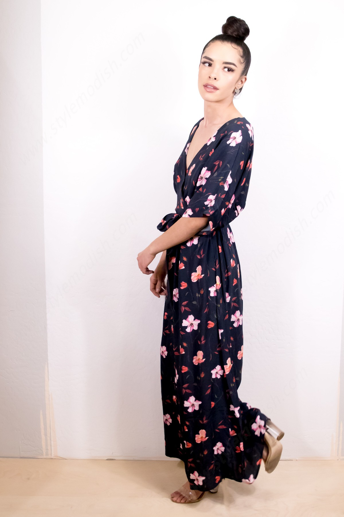 Women's Just Female Olivia Floral Maxi Dress - Dark Navy - Women's Just Female Olivia Floral Maxi Dress - Dark Navy