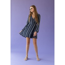 Woman's Azalea Stripe Wrap Dress - Navy