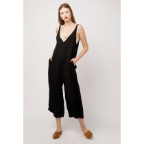 Women's Azalea Satin V Neck Jumpsuit - Black
