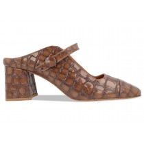 Women's By Far Trainers Emma Brown Croco Embossed Leather